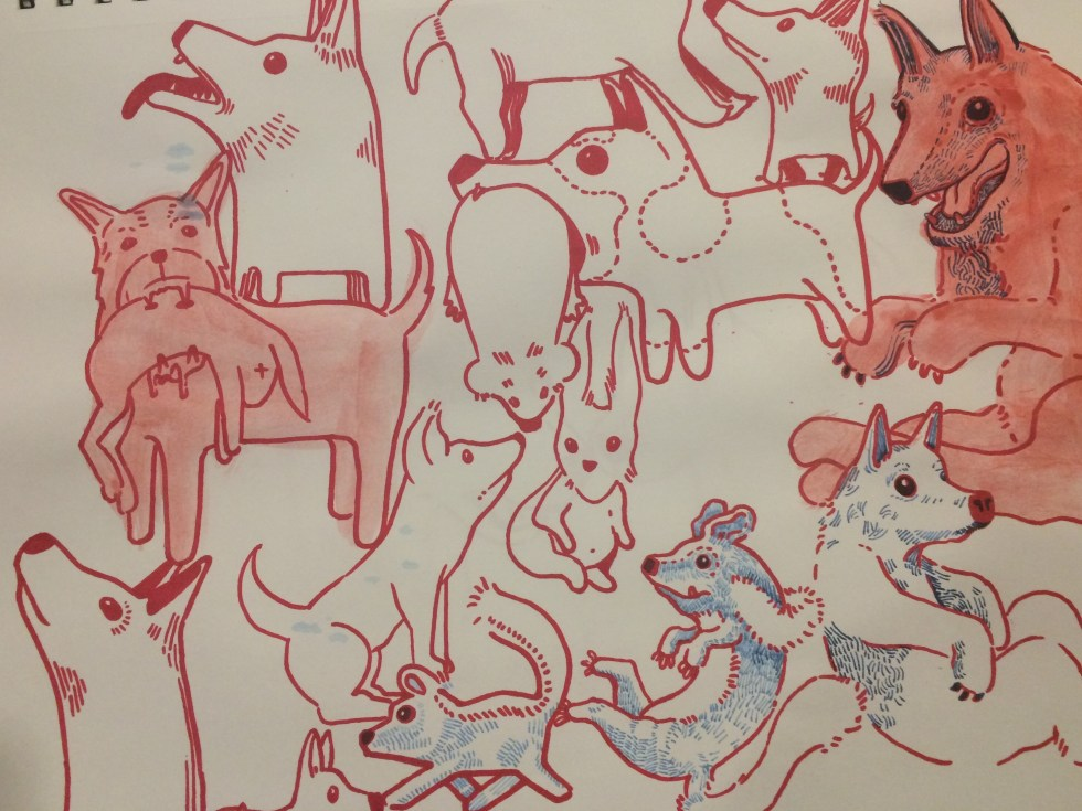 Drawings of dogs in red and blue marker