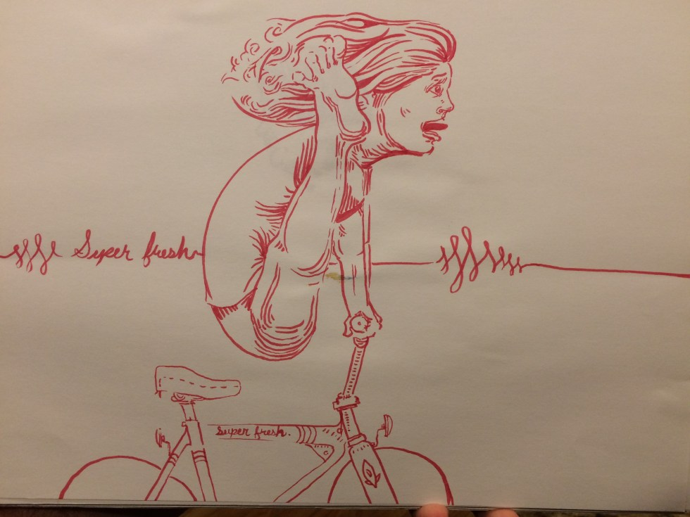 red marker, girl on a bike