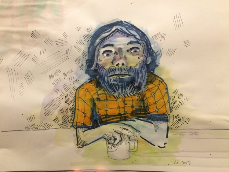 Drawing and watercolor of a bearded gentleman holding coffee.