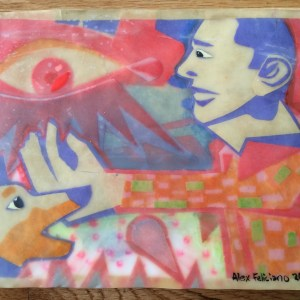 A collage in light blue, pink, and orange, depicts a dog sniff a hand