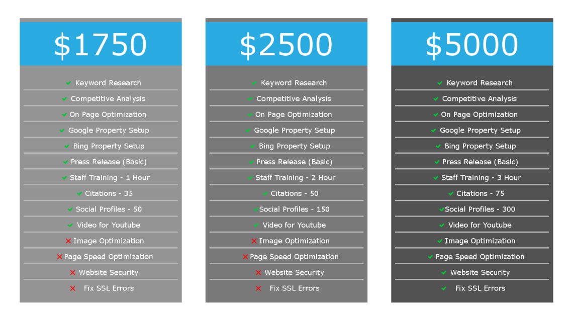 Pricing Table for SEO Services