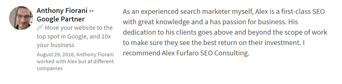 A testimonial from Anthony Fiorani of Rebellion SEO.