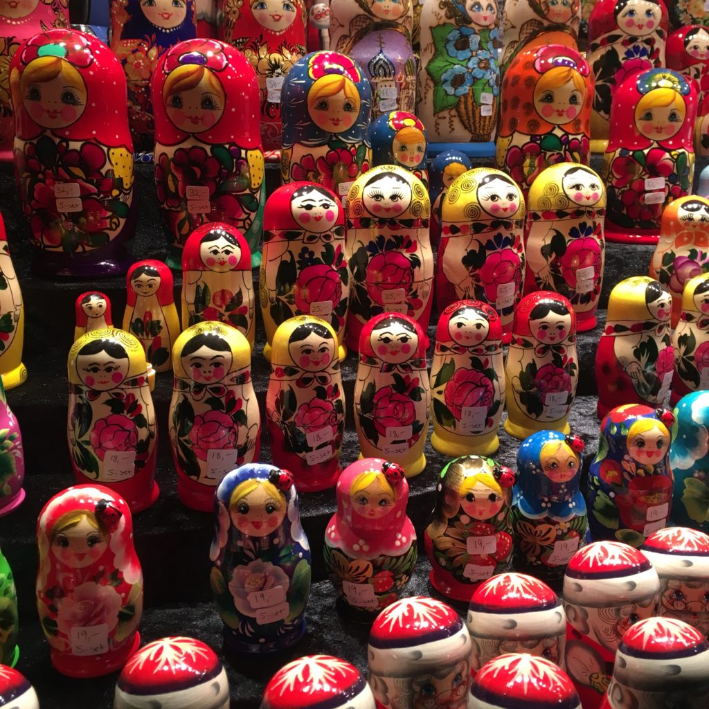 Russian dolls on display in a German Christmas market