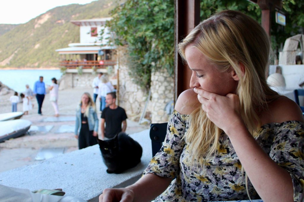 Saying hi to the cats of Greece
