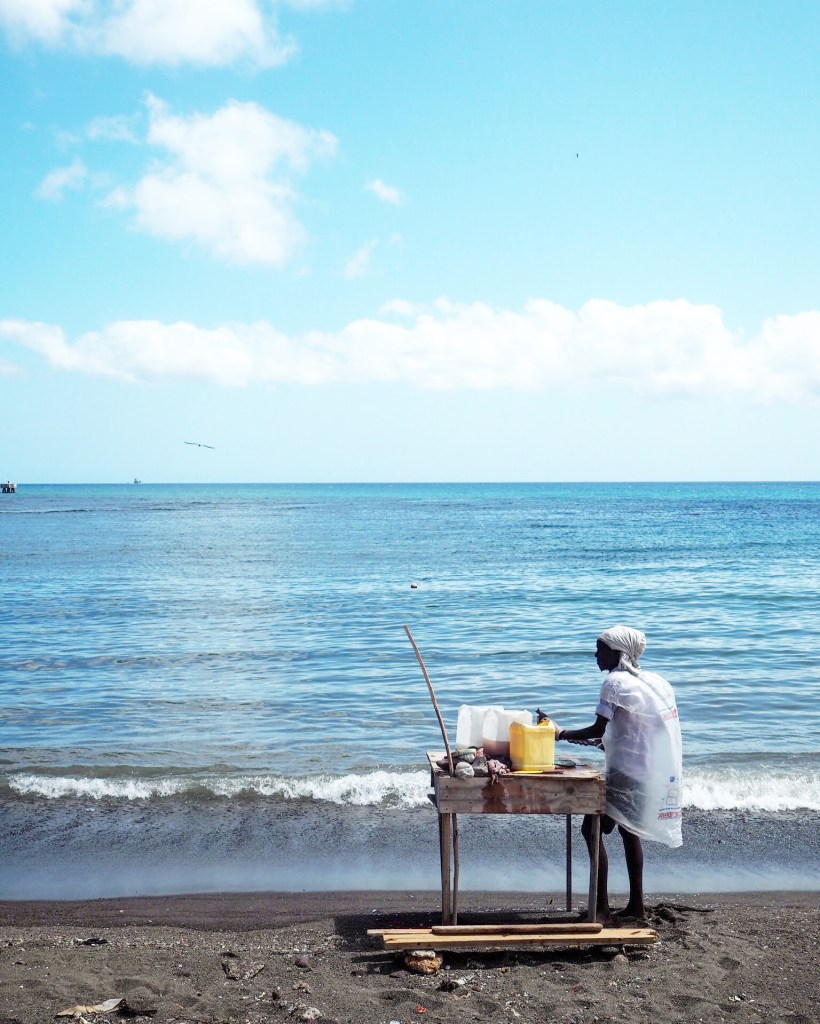 beaches in St Kitts - a fisherman at Basseterre