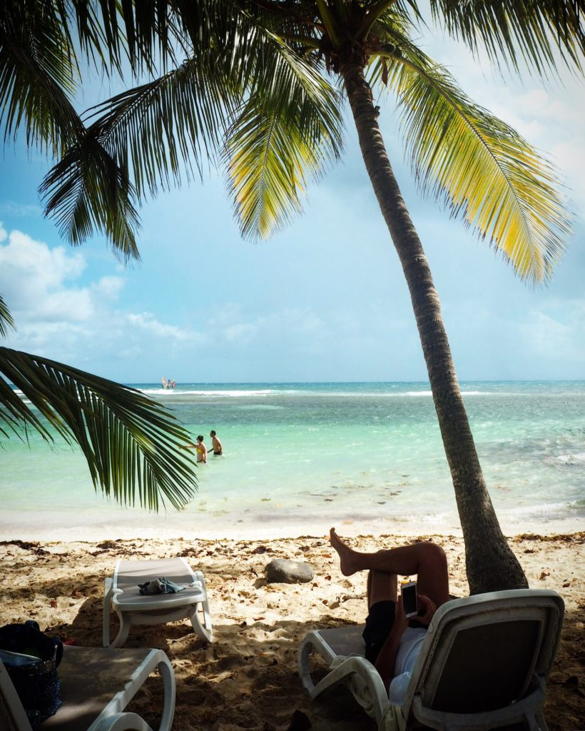 relaxing on the beach near Club Med Caravelle in Guadeloupe
