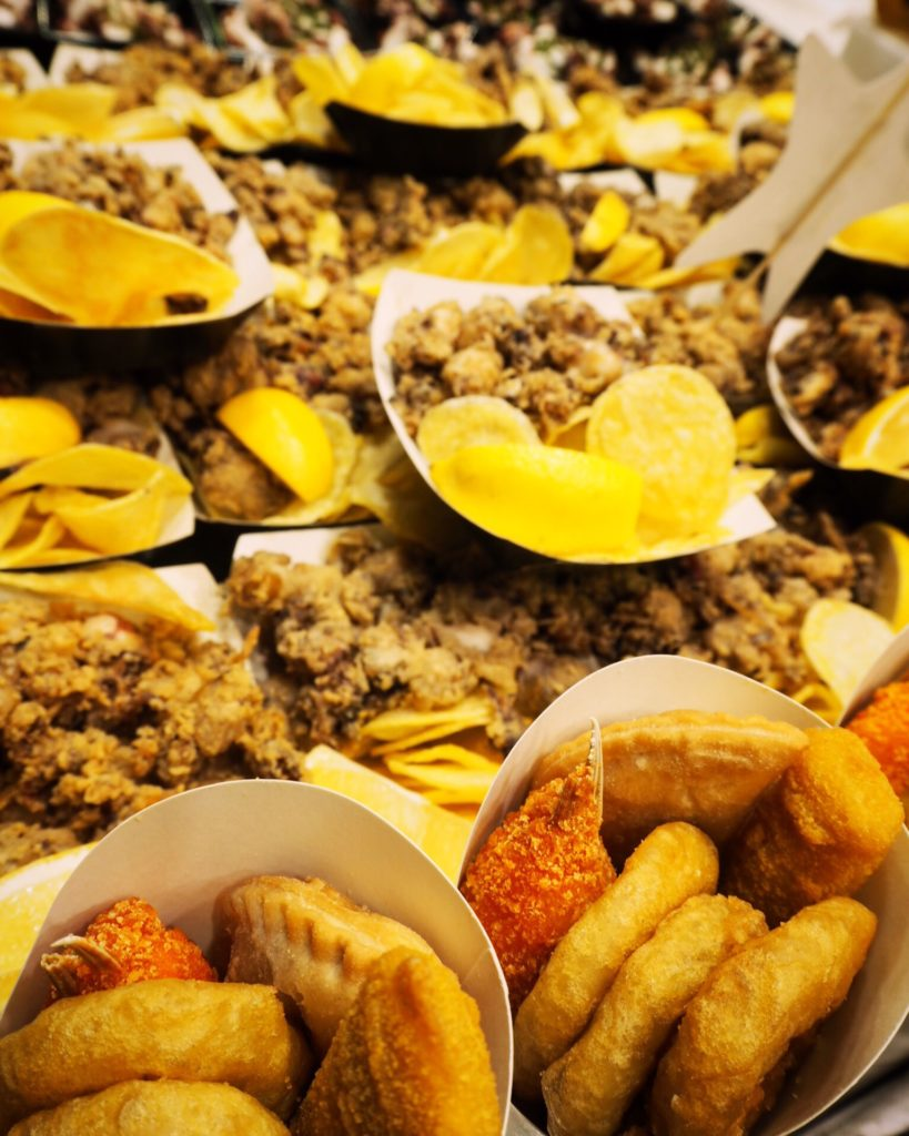 Fried food on display in Barcelona's famous markets
