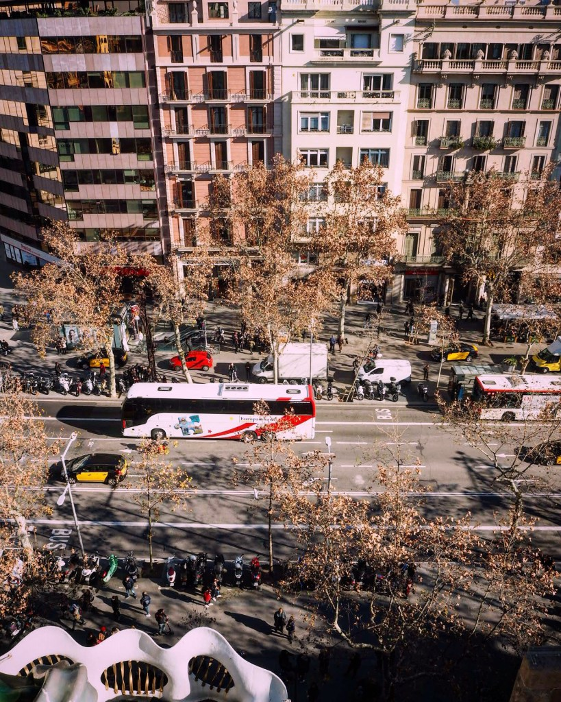 Street view from a rooftop in Barcelona