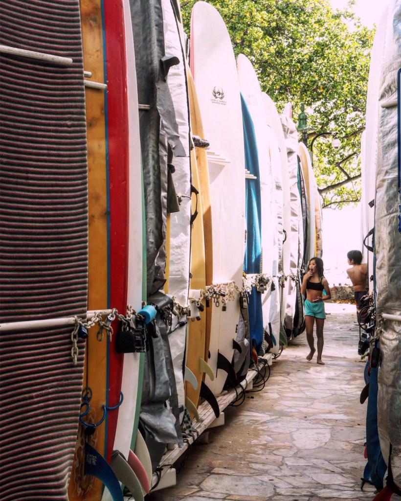 surfboards and children in Waikiki