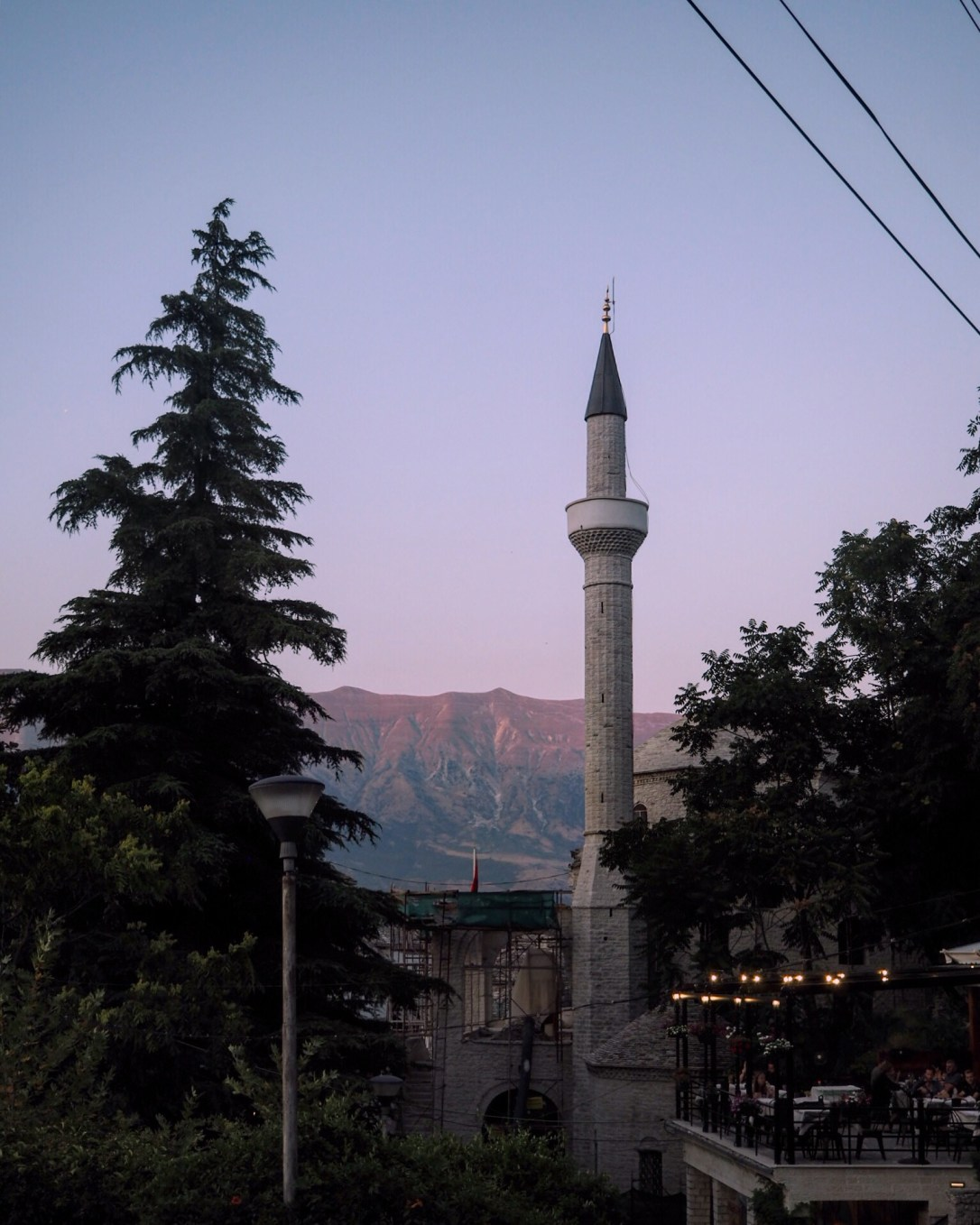 Mosque in Albania at sunset
