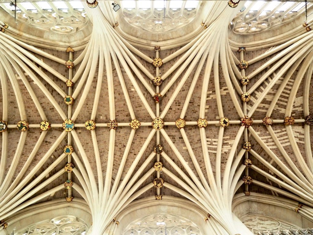 detail of Exeter Cathedrals ceiling