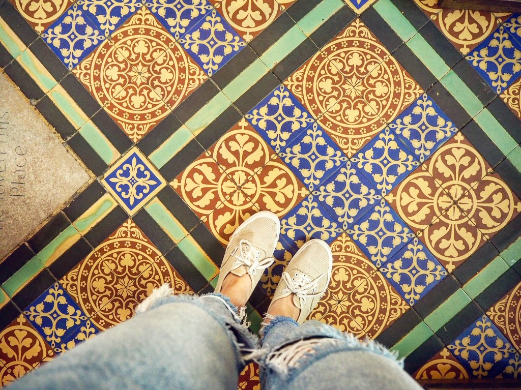 the tiled floor of Exeter Cathedral