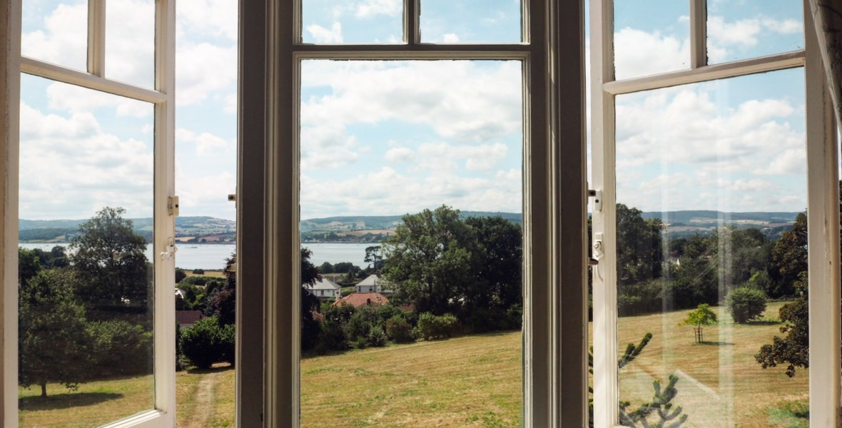 view from the window of A La Ronde National Trust property in Devon