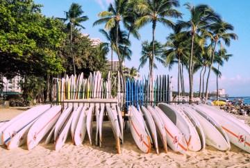 A line of surfboards on Waikiki Beach