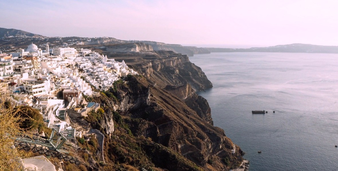 the town of Fira at golden hour