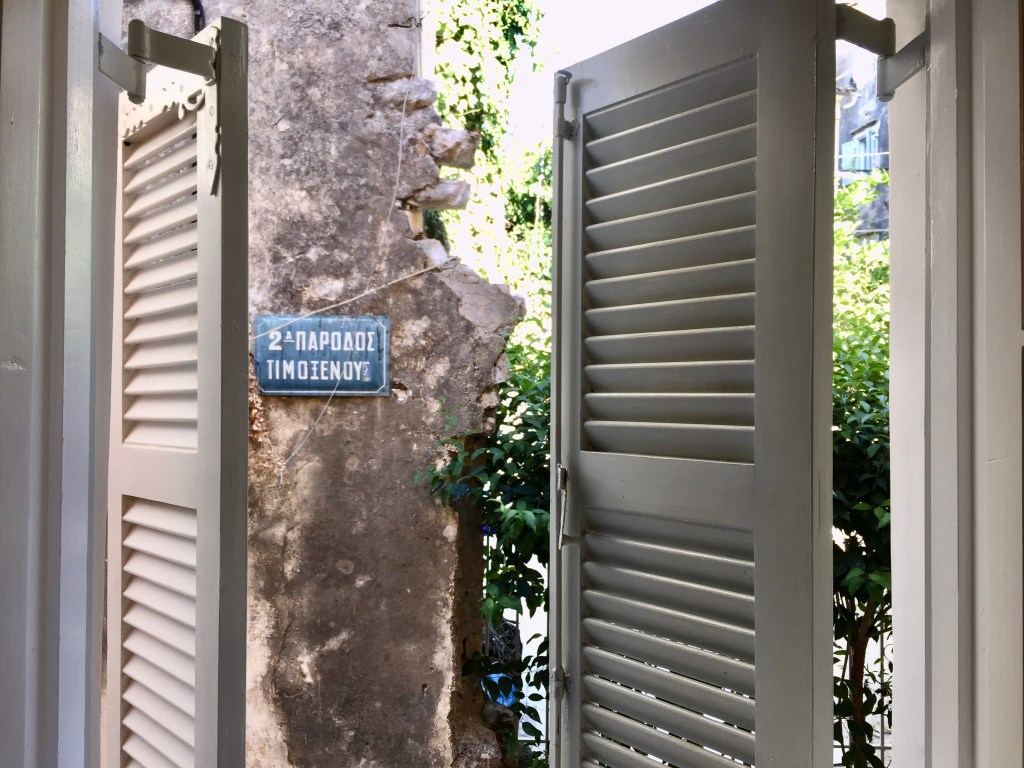 shutters of a Corfu Old Town Airbnb