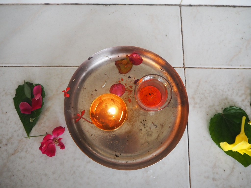 offerings in the temple to Vishnu at Grand Bassin