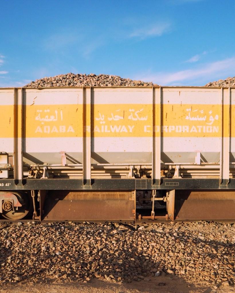 yellow carriages of the Hejaz Railway in Jordan