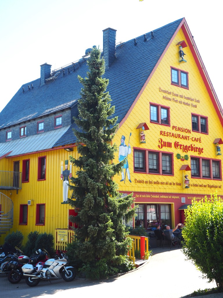 quaint yellow building in the ore mountains, Germany
