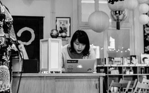 Mari Hidaka is preparing for her lecture on the Japanese erotic art Shunga in the Japanse Winkel & Webshop Batsu in Groningen, The Netherlands.