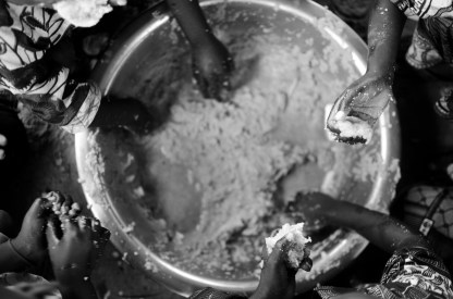 Millet is a staple food in The Gambia and is eaten out of big bowls.