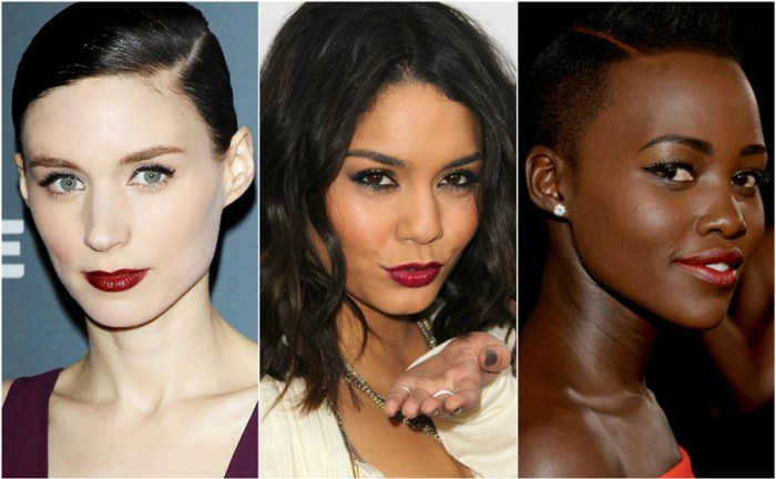 Dark Red Lipstick Celebrity Skin Tone Fair Olive Dark Rooney Mara Vanessa Hudgens Lupita Nyongo
