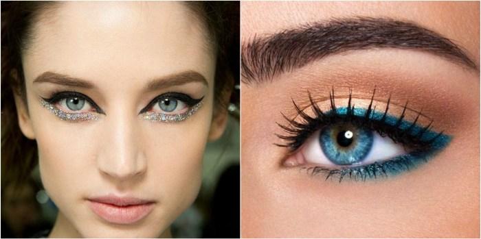 Coloured eyeliner, coloured makeup, trend, beauty, eyes, autumn winter makeup, beauty trends, eyes, sparkle, winter makeup, runway trends