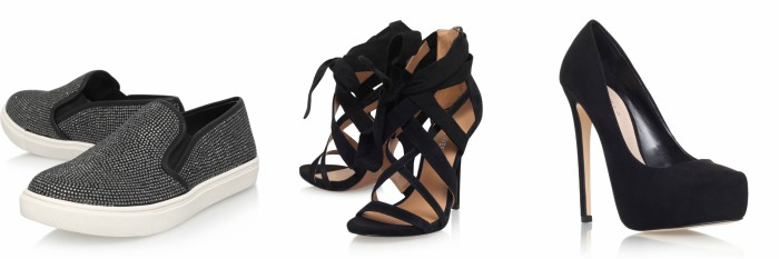 Outfit grid - black flat shoes, black strappy heels and black high heels