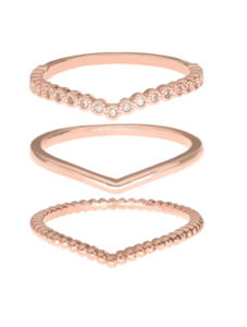Rose Gold 3x Wishbone Stacking Ring Set £15