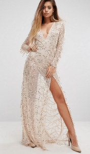 PrettyLittleThing Premium V Neck Sequin Maxi Dress £50