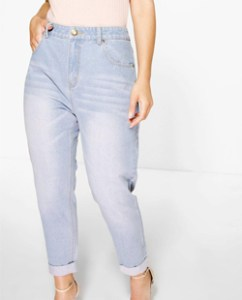 Boohoo Plus Riley High Waisted Light Wash Mom Jeans