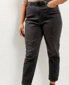 New Look Curves Black Ripped Turn Up Hem Boyfriend Jeans