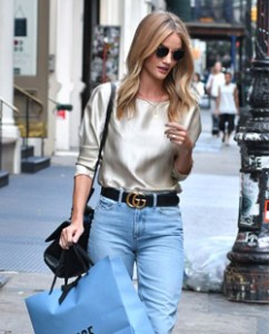 Rosie Huntington-Whitely in mom jeans