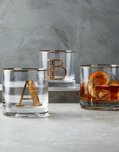 Anthropologie Gilded Monogram Glass