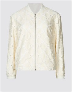 Cream cotton blend lace bomber jacket
