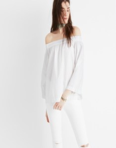 Off the shoulder white top with flared sleeves