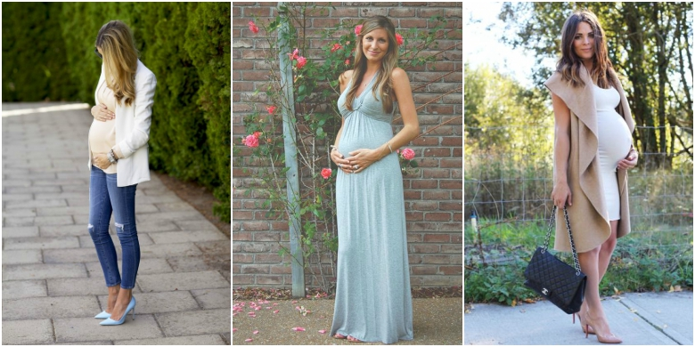 Three pregnant women show off beautiful baby shower styles: ripped jeans with blue heels, white top and cream blazer; green maxi dress; white body con dress with camel coloured coat