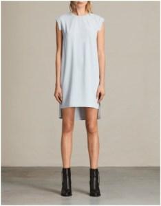 All Saints short blue sleeveless dress with drop hem line