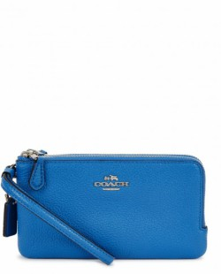 Coach blue grained leather wallet