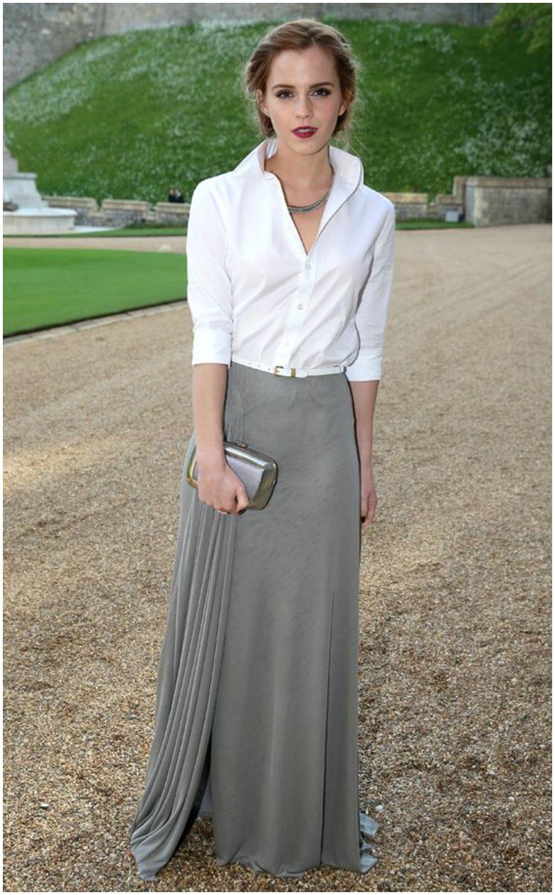 Emma Watson grey maxi skirt white shirt