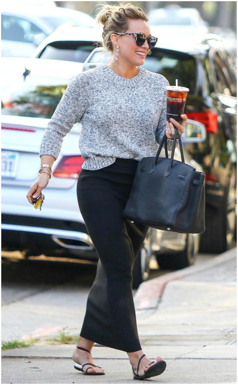 Hilary Duff black body con maxi skirt grey jumper