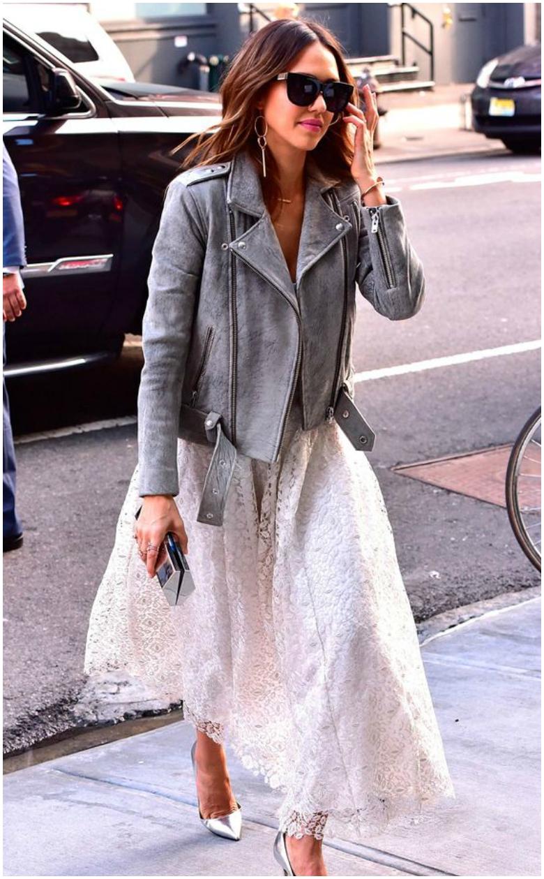 Jessica Alba grey leather jacket pink lace midi skirt metallic heels