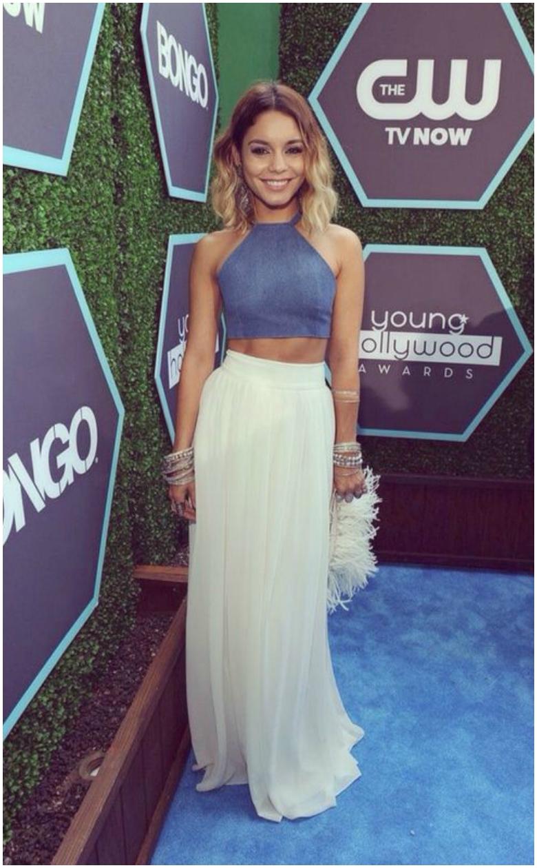 Vanessa Hudgens cream pleated maxi skirt blue crop top
