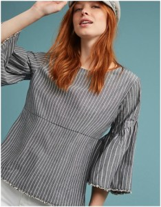 Anthropologie Lorna Striped Bell-Sleeve Top