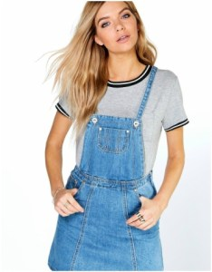 Boohoo Laura Denim Pinafore Dress