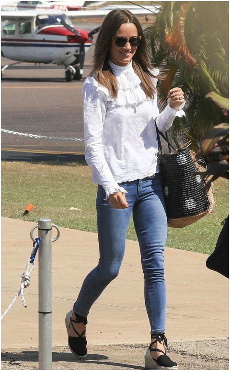 Pippa Middleton white ruffled long sleeve top blue jeans