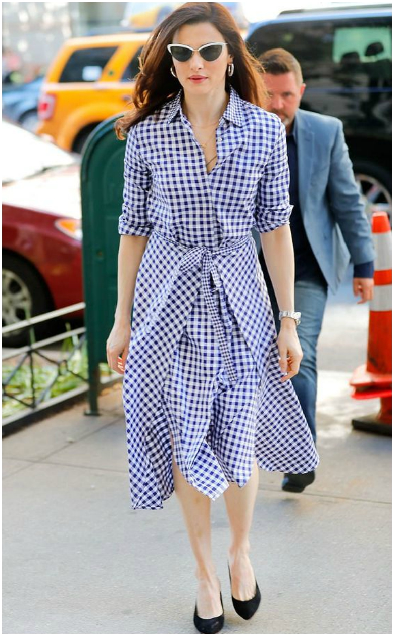 Rachel Weisz gingham midi dress with tie waist