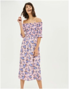 Topshop Shirred Floral Bardot Dress
