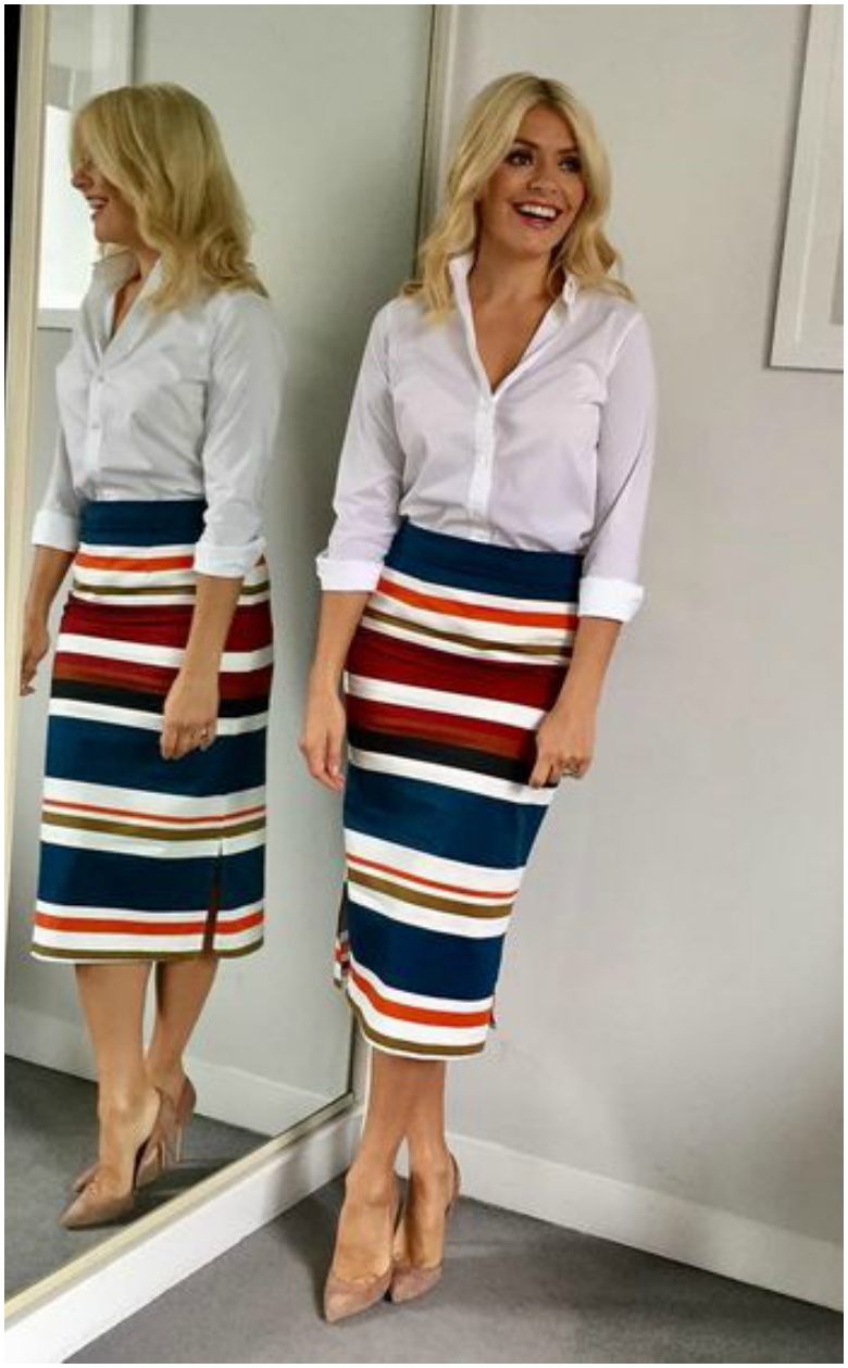 Holly Willoughby striped pencil skirt white shirt