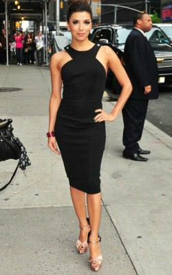 Eva Longoria fashion style little black dress and heels - shop the look